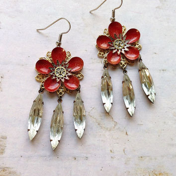 Steampunk Garden Party Earrings in Red and Gold by bionicunicorn