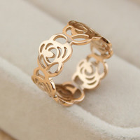 Womens Camellia Rose Gold Hollow Out Ring Lover Rings Gift-127