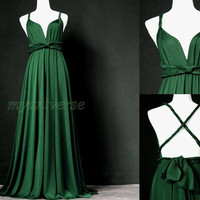 Maxi Dress Wedding Dress Wrap Convertible Dress Bridesmaid Dress Infinity Dark Green Plus Size