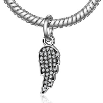 Authentic 925 Sterling Silver Bead Charm Wing Micro-pave Vintage Pendant Beads Fit Women Pandora Bracelets DIY Jewelry YW20552
