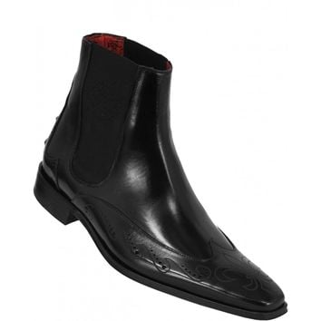 Wakeby Wolf Finesse Black Chelsea Wingtip Design Leather Boots
