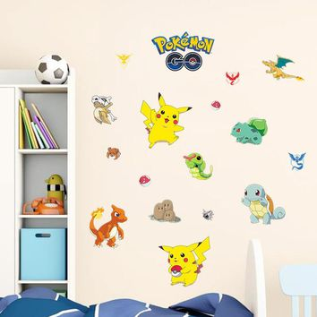 Popular  Animal Cartoon Wall Stickers Vinyl Decal For Children Room Glass Cabinet Wall DecorationKawaii Pokemon go  AT_89_9