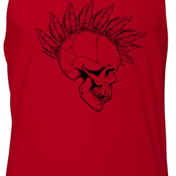 Feather Mohawk Skull (Black) Tank-Top T-Shirt