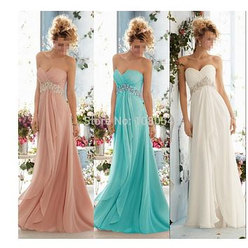 0199 royal blue 2014 New Crystal Chiffon Long Formal Prom Party Evening Dress orange  fashion maxi plus size strapless