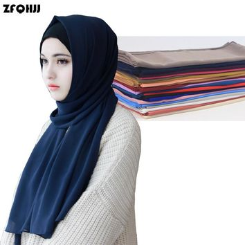 ZFQHJJ Women's Bubble Chiffon Scarf Muslim Hijab Caps Head Coverings Solid Shawls Plain Scarf Hijabs Scarves 175x75cm 20 colors