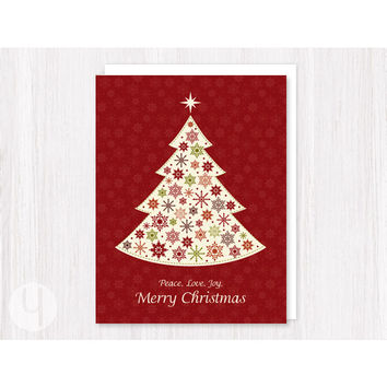 Christmas Tree Red Greeting card