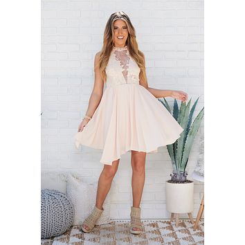 Serious Feelings High Neck Lace Dress (Nude)