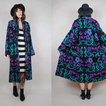 MOHAIR wool vtg OVERSIZED boyfriend Sweater duster maxi long COAT damask brocade floral draped Chunky knit 80's