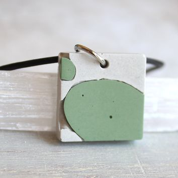 Square necklace - white and mint green