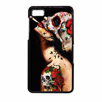 Floral Sugar Skull Tattooed BlackBerry Z10 Case