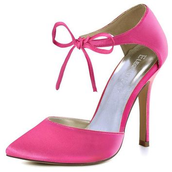Prom Pumps  Ankle Strap Ribbon Tie Satin High Heel