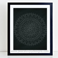 Mandala Printable, Chalkboard Mandala Print, 8x10, Instant Download,  Mandala Wall Decor, Yoga Wall Printable, Modern Mandala Wall Art