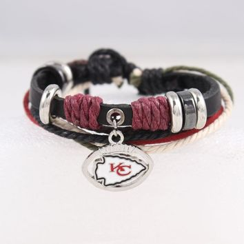 Black Genuine Leather Bracelet Kansas City Chiefs American Football Team Adjustable Bracelets With Cords and Beads For Fans Gift
