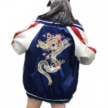 Autumn Bomber Jacket Women Street Slip Jacket Embroidery Dragon Loose Baseball Coat Plus Size Souvenir Jacket Yokosuka