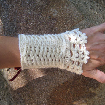 Corset Wrist warmers manchette crocheted arm warmers knitted crochet wool alpaca lace steampunk victorian wedding bridal cuffs satin ribbon