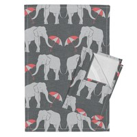 Orpington Tea Towels featuring elephant_and_umbrella_coral by holli_zollinger