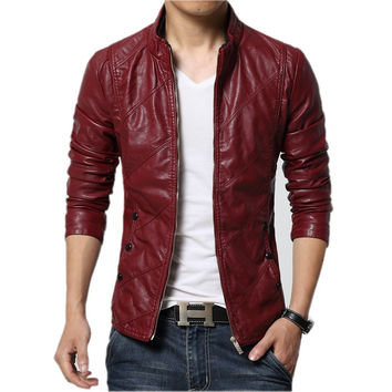 2016 Autumn Winter Faux Leather Red Men's Suede Jackets Men Double Collar Black Slim Fit Brand Mens Motorcycle Jackets and Coats