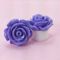"SALE (20% OFF!) Buy 2 Pairs/get 3rd FREE! Large Royal Purple Flower Rose Plugs/Gauges 3/4"" 7/8"" 1"" 1 1/16"" 1 1/8"""