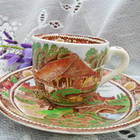 Vintage Tiny Teacup by W.R. Midwinter / Transferware Rural England Pattern