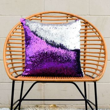 Amethyst Purple & Silver Mermaid Pillow - COVER ONLY (Inserts Sold Separately)