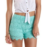 Mint High-Waisted Scalloped Lace Shorts by Charlotte Russe