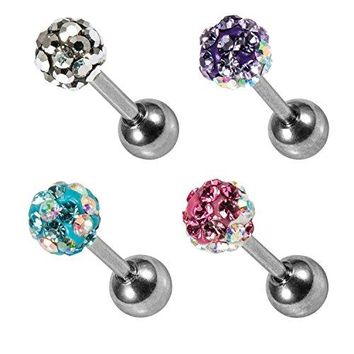 BodyJ4You 4PCS 16G Rose Flower Tragus Earring Piercing Stud Set Surgical Steel Cartilage Barbell