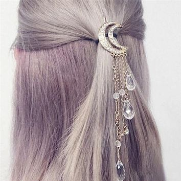 Crescent Moon Barrette Dangling Crystals Silver Gypsy Hair Clip Celestial Waxing Moon Cast A Spell