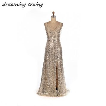 Champagne Long Mermaid Prom Dresses With Spaghetti Strap Criss Cross Back Sequined Party Gowns Side Split Evening Dress