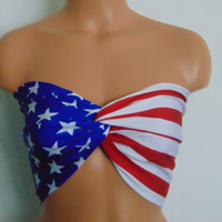 Bandeau, American flag twisted bikini top, USA Bandeau, Bikini top, Swimsuit top, Spandex bandeau, Spandex swimsuit top, 4th of July bandeau top, Top