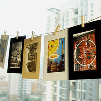 Clothespins and Rope Hanging Paper Photo Frame Picture Album