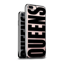 BOLD BLACK QUEENS COOL DESIGN WITH CLEAR CHROME/SILVER CASE FOR IPHONE 8/7