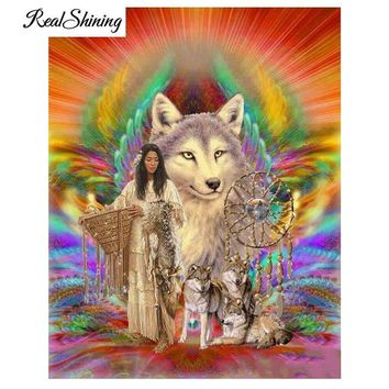 5D Diamond Painting Indian and Wolf Dream Catcher Multi Color Kit