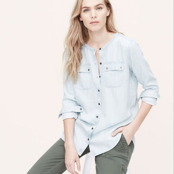 Collarless Chambray Softened Shirt | LOFT