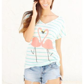 The cutest light weight flamingo printed tee you'll own this summer! | Flamingo Tee | escloset.com