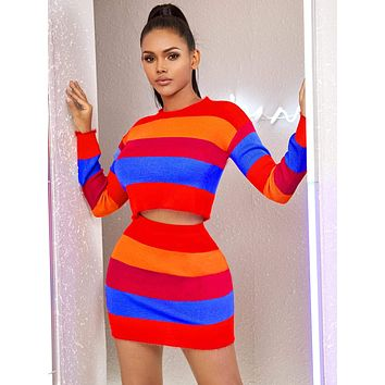 Neon Striped Colorblock Crop Sweater & Bodycon Skirt Set