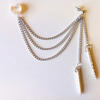 White Howlite Spear Chain Ear Cuff by francisfrank on Etsy