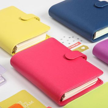 Lovedoki 2017-2018 New Notebook Candy Color Cover A5 A6 Loose-Leaf Time Planner Organizer  Series Personal Diary Daily Memos