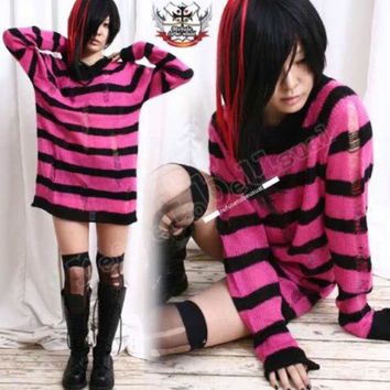Punk Ladder Sweater Knit Pullover/Dress HOT PINK Stripe