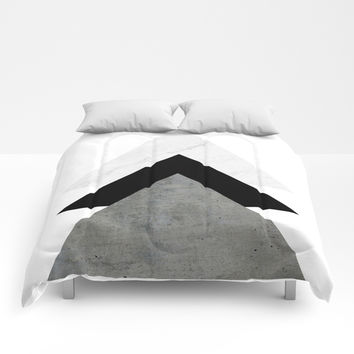 Arrows Monochrome Collage Comforters by ARTbyJWP