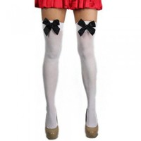 Nylon Thigh Highs w/ Bow -  white/ black