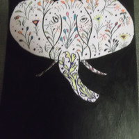 Unique Elephant Acrylic Painting Mixed Media Zentangle Ancient Art Mulicolor Flowers Black Background