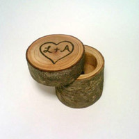 Log Jewelry Box, Rustic Ring Bearer Box, Marriage Proposal Box, Shabby Chic Jewelry Box, Ring Holder, Rustic Wedding