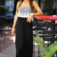 Lace Into Life Maxi Dress: Black | Hope's