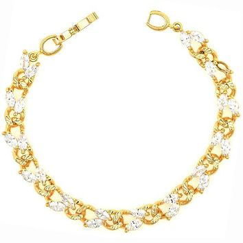Gold Layered 03.60.0048 Tennis Bracelet, Leaf Design, with White Cubic Zirconia, White Polished Finish, Gold Tone