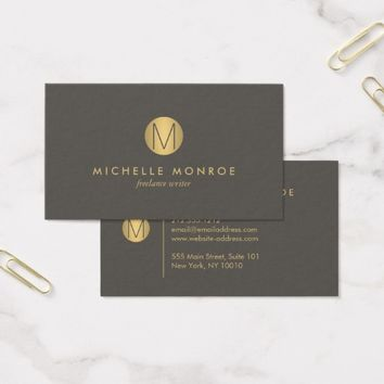 Chic Faux Gold Minimalist Monogram Business Card