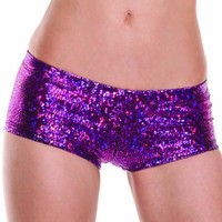 Pink Fuschia Metallic Shattered Glass Boy Booty Shorts