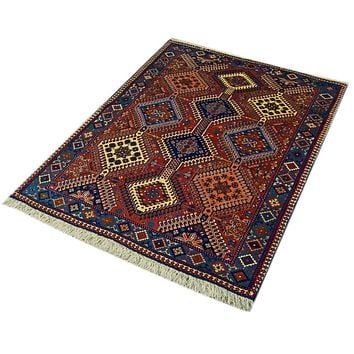 Oriental Yalameh Iranian Tribal Wool Rug, Red/Blue