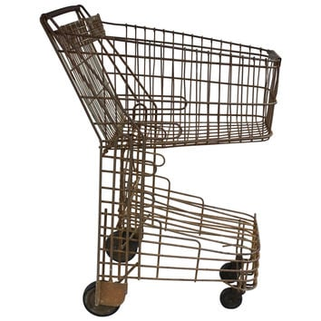 Vintage 1940s Wire Shopping Cart, Machine Age