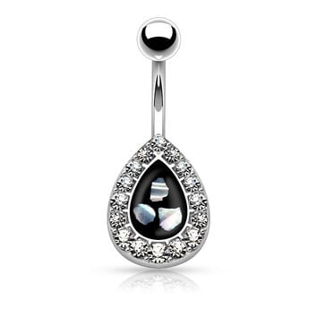 Crystal Paved Teardrop Belly Button Ring with Mother of Pearl