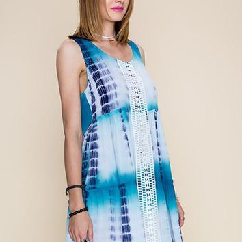 Tie Dye Crochet Trimmed Dress